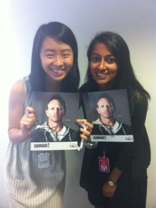 """Aparna (right) and a fellow intern after meeting the star of """"Sharknado 2: The Second One"""" on premiere night."""